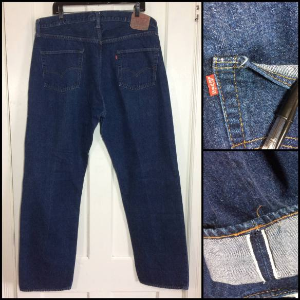 indigo blue Levi's 501 jeans single stitch redline one wash number 6 buttn vintage Levi's