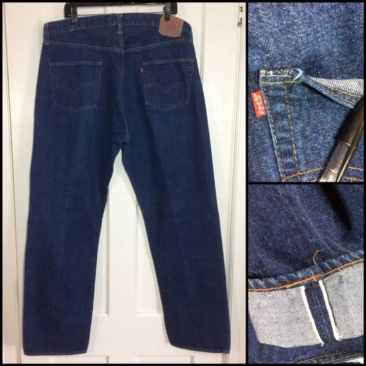 indigo blue Levi's 501 jeans single stitch redline one wash number 6 buttn vintage Levi's