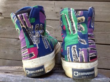 1980s Converse Skidgrip patterned canvas hi tops