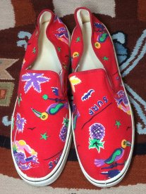 1980s tropical surfer patterned canvas slip on sneakers made in USA