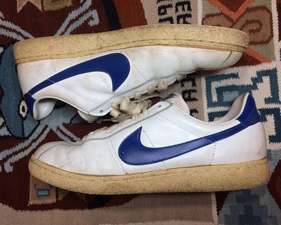 1982 leather Nike Bruin vintage kicks white blue swoosh size 13
