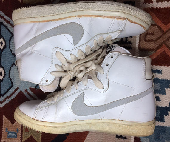 83c0b39d18ad 1983 Nike Penetrator leather hi top sneakers white gray swoosh size 7.5