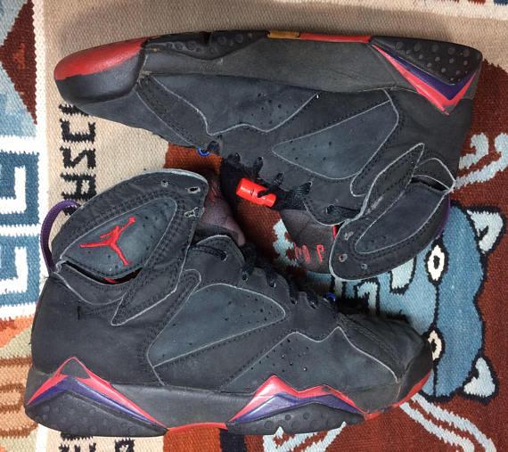 1992 Nike Air Jordan VII black red purple size 6.5